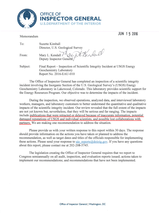 SCIENTIFIC INTEGRITY INCIDENT AT  USGS ENERGY GEOCHEMISTRY LABORATORY  cover letter