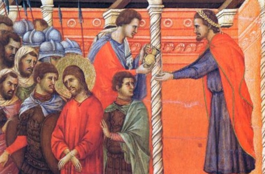 Pilate washing hands of Jesus Duccio 1308 cropped