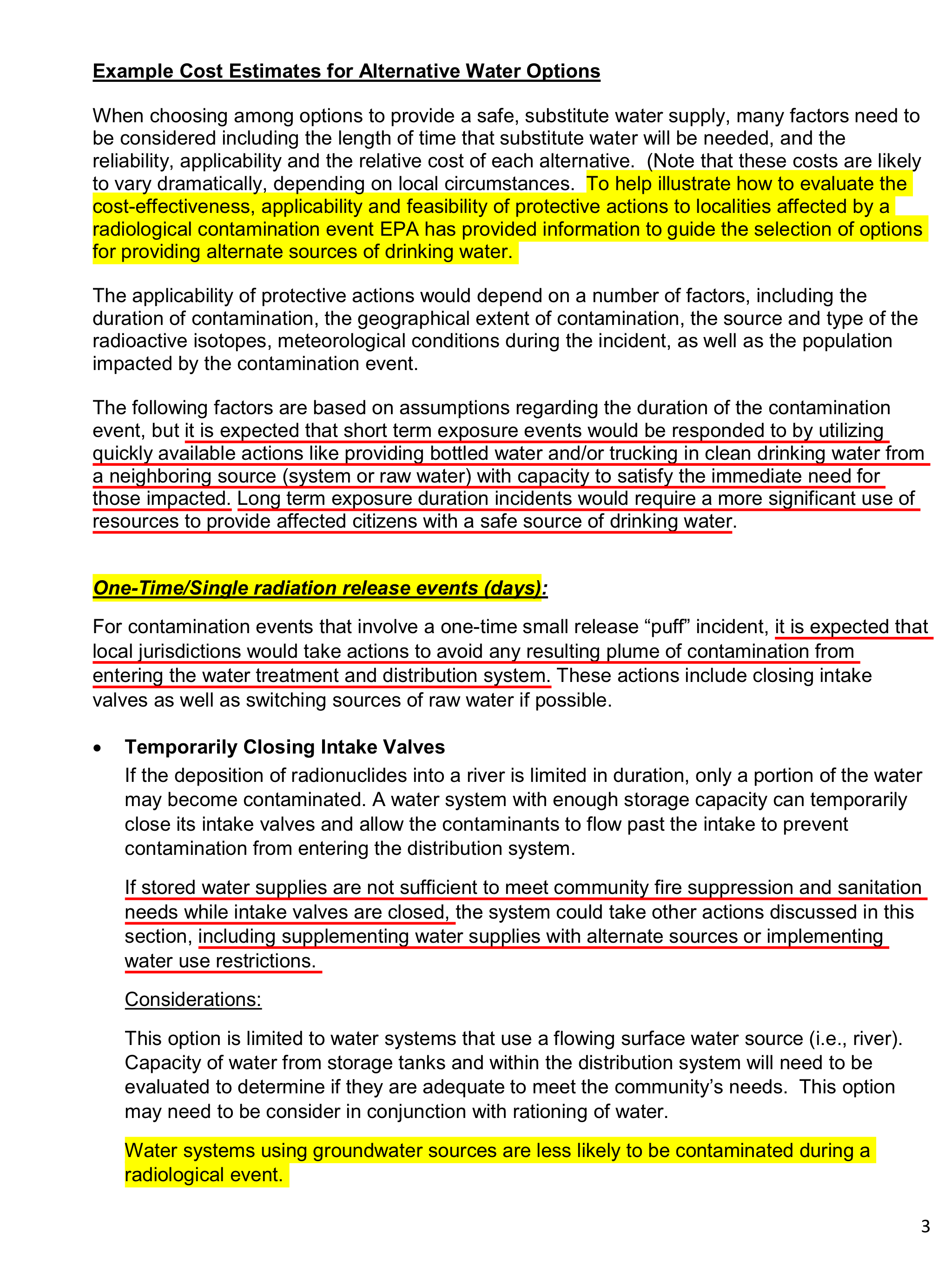 Drinking Water PAG – Cost Estimates, p  3   Mining Awareness +