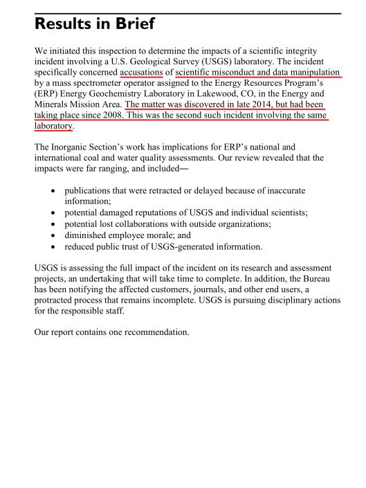 SCIENTIFIC INTEGRITY INCIDENT AT  USGS ENERGY GEOCHEMISTRY LABORATORY , summary
