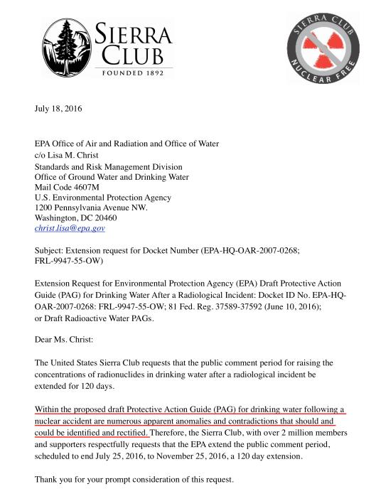 EPA-HQ-OAR-2007-0268-0329 Sierra Club Rad Water Comment Extension Request
