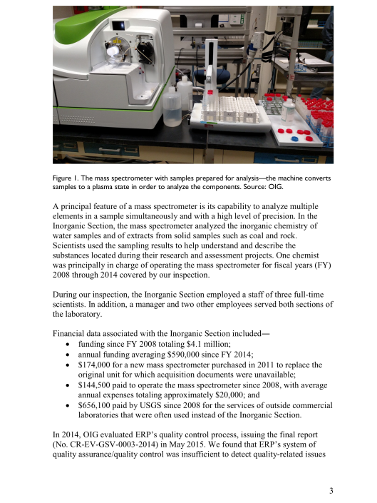SCIENTIFIC INTEGRITY INCIDENT AT  USGS ENERGY GEOCHEMISTRY LABORATORY , p. 3