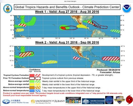 Rain predictions NOAA end Aug beginn Sept 2016