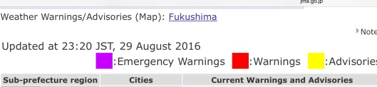 """Weather Warnings/Advisories: Fukushima""  Updated at 23:20 JST, 29 August 2016  Source: Japan Meteorological Agency"