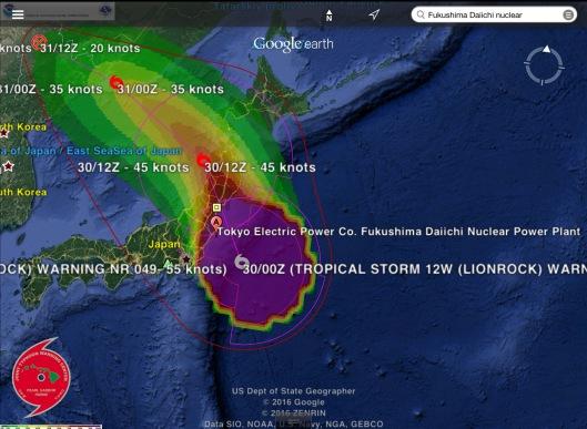 Tropical Storm Lionrock Fukushima Daiichi NPS Aug. 30 midnight UTC NOAA