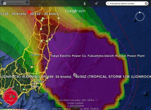Tropical Storm Lionrock Fukushima Daiichi NPS Aug. 30 midnight UTC NOAA zoom