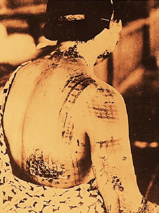 Hiroshima fabric pattern on back