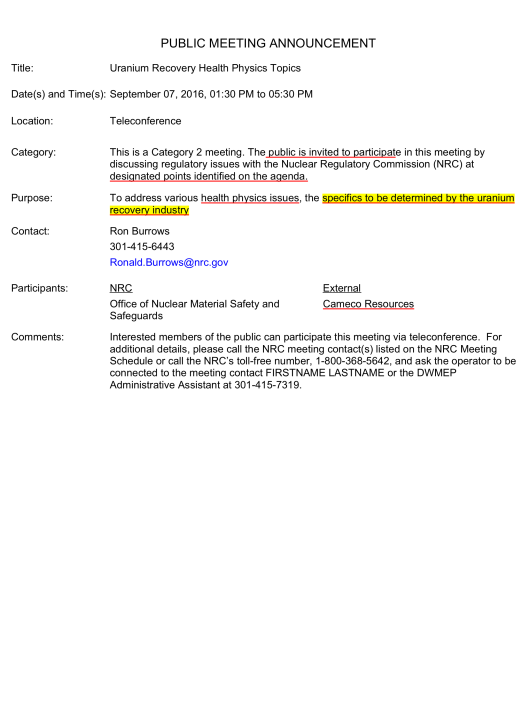 ML16216A260 ISL Rad Protection Meeting Sept. 7th, p. 1