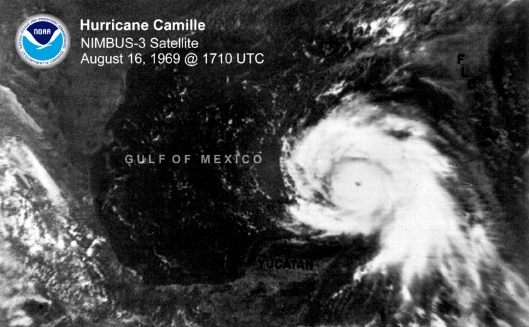 Camille August 14-22, 1969 while in the Gulf on Aug 16