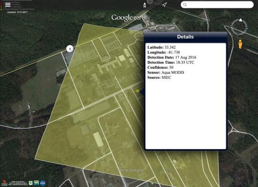 Coord A Area SRNL: Latitude: 33.342 Longitude: -81.738 Detection Date: 17 Aug 2016 Detection Time: 18:35 UTC Confidence: 50 Sensor: Aqua MODIS Source: SSEC