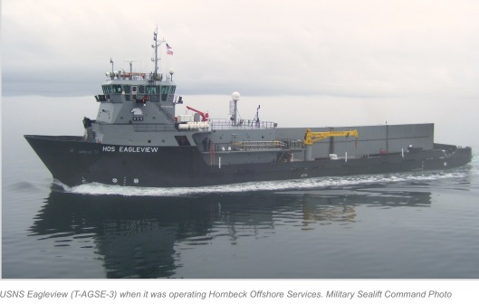 USNS Eagleview (T-AGSE-3) when it was operating Hornbeck Offshore Services. Military Sealift Command Photo