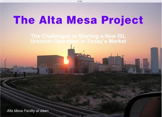 Alta Mesa Project NRC 2007 ML061910399