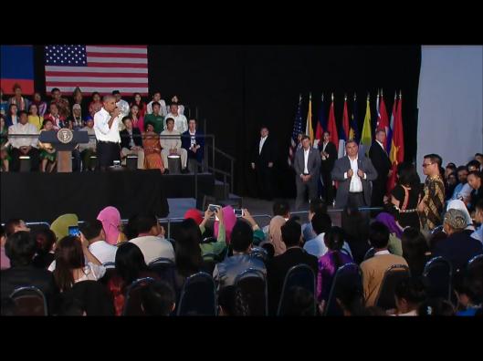 Obama drinking water at Laos Townhall