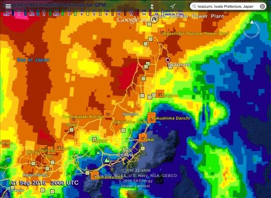 30 day rainfall Japan to 1 Sept 20.00 UTC