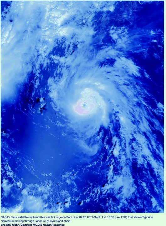 NASA' Terra satellite Sept. 2  02:20 UTC Typhoon Namtheun moving thru  Japan's Ryukyu Island chain. Credits: NASA Goddard MODIS Rapid Response; Color Enhanced by MA