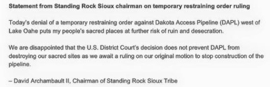 Standing Rock Sioux Chair Statement on Temp Restraining Order, Sept 6 2016