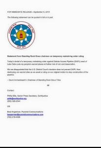Standing Rock Sioux Chairman Press Release 6 Sept 2016