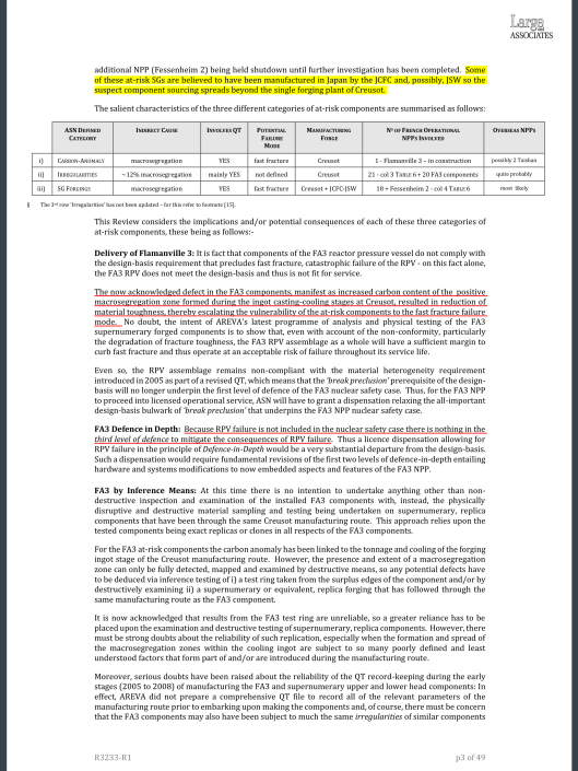 REVIEW  IRREGULARITIES AND ANOMALIES RELATING TO THE FORGED COMPONENTS OF LE CREUSOT FORGE  Client:  GREENPEACE FRANCE   Ref No  R3233-R1  LARGE ASSOCIATES CONSULTING ENGINEERS,  LONDON   26 SEPTEMBER 2016 , p. 3