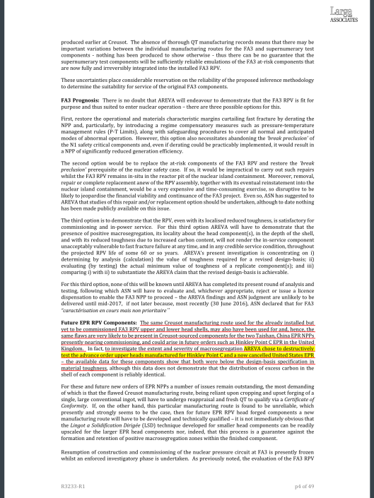 REVIEW  IRREGULARITIES AND ANOMALIES RELATING TO THE FORGED COMPONENTS OF LE CREUSOT FORGE  Client:  GREENPEACE FRANCE   Ref No  R3233-R1  LARGE ASSOCIATES CONSULTING ENGINEERS,  LONDON   26 SEPTEMBER 2016 , p. 4