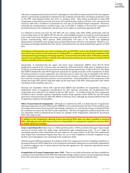 REVIEW  IRREGULARITIES AND ANOMALIES RELATING TO THE FORGED COMPONENTS OF LE CREUSOT FORGE  Client:  GREENPEACE FRANCE   Ref No  R3233-R1  LARGE ASSOCIATES CONSULTING ENGINEERS,  LONDON   26 SEPTEMBER 2016 , p.5