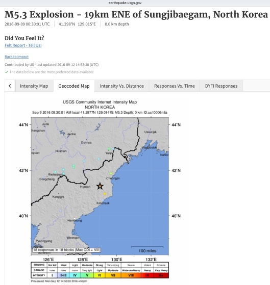 M5.3 Explosion - 19km ENE of Sungjibaegam, North Korea 2016-09-09 00:30:01 UTC 41.298°N   129.015°E 0.0 km depth