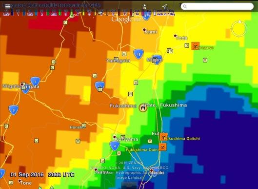 Fukushima Daiichi Itate 30 day Rainfall to Sept. 1 20.00 Z UTC