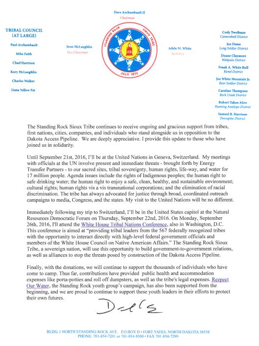 Chairman Dave Archambault II news release-update ca 20 Sept. 2016