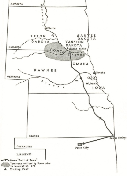 523 members of the tribe were forced to walk the Ponca Trail of Tears, from the northern border of Nebraska to Oklahoma, in May - July 1877.  (James H. Howard, The Ponca Tribe. Bureau of American Ethnology, Bulletin no. 195, U.S. GPO, 1965)