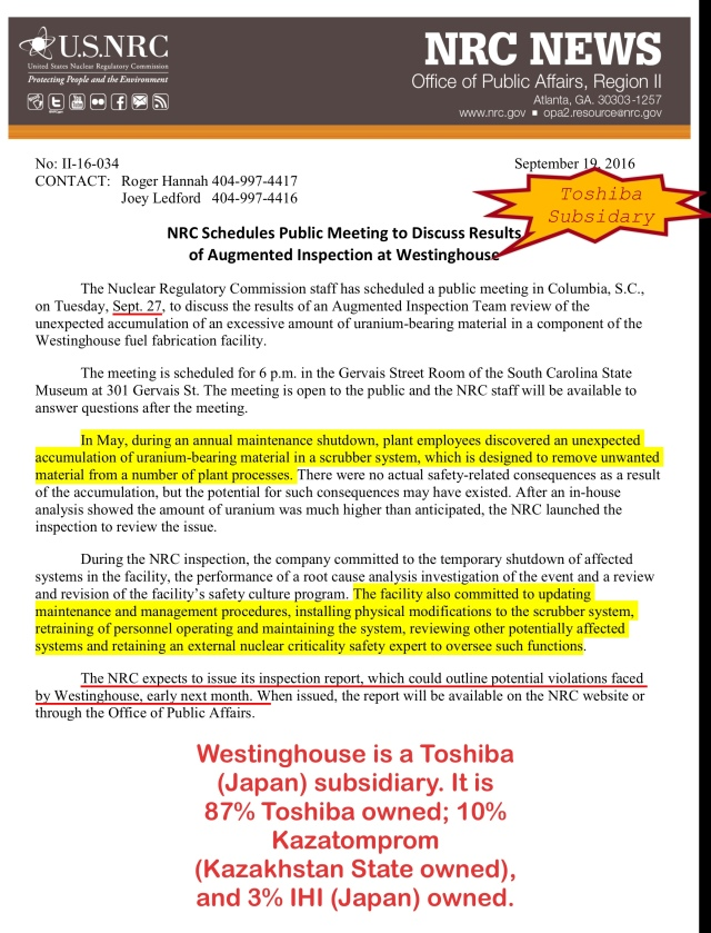 NRC Schedules Public Meeting to Discuss Results  of Augmented Inspection at Westinghouse