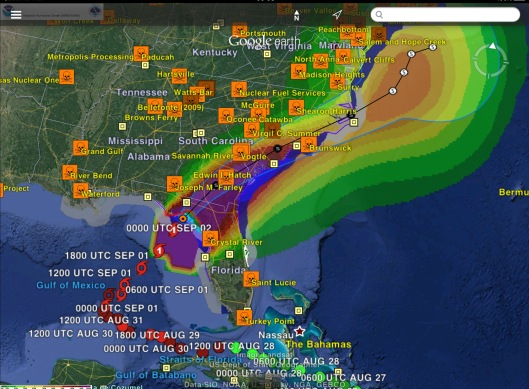 Hermine Forecast ca 000 UTC Sept 2nd with Nuclear Power Stations