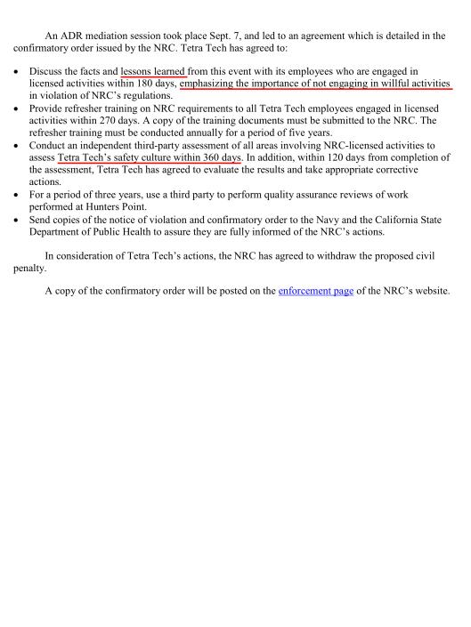 Tetra Tech EC Inc. of Morris Plains, N.J. falsified radiation in soil sample , p. 2