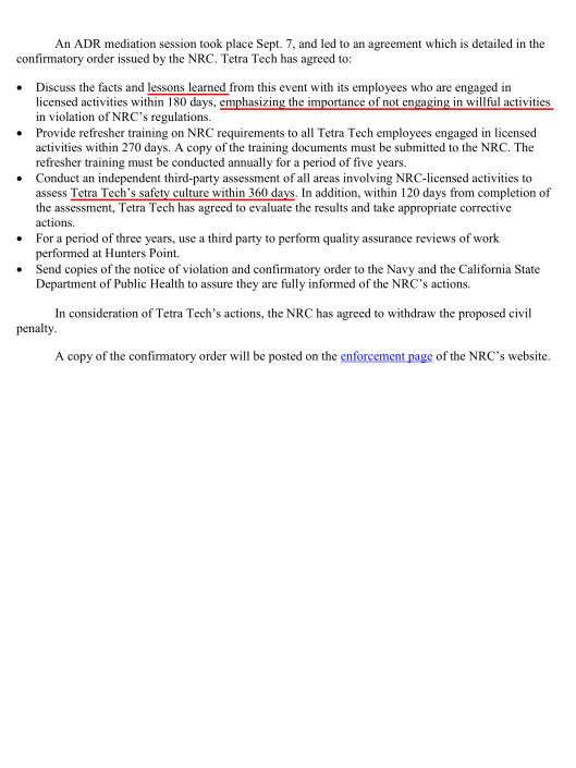 Tetra Tech EC Inc. of Morris Plains, N.J. falsified radiation in soil sample , p. 2