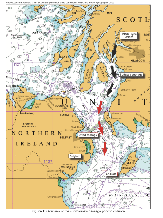 "Collision between the stern trawler Karen and a dived Royal Navy submarine"" From: Marine Accident Investigation Branch 12 October 2016, OGL Crown copyright., Map of Locations in the Irish Sea"