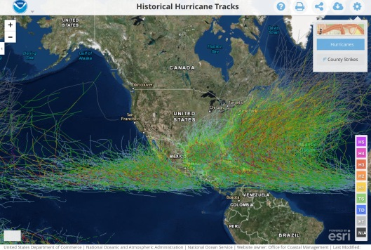 US Hurricanes NOAA historical
