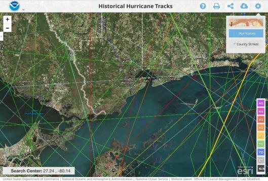 Camille into Waveland Dark Purple line hurricanes
