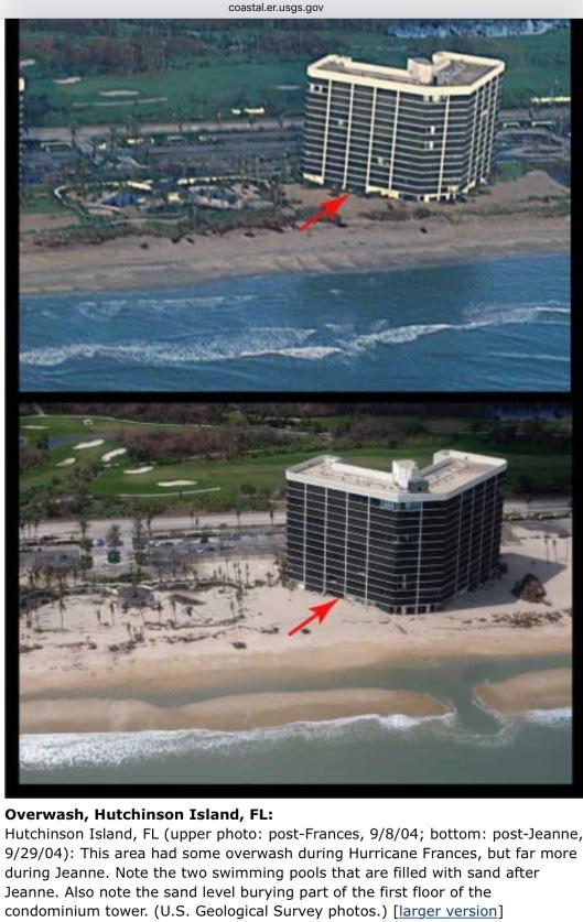 Sand Overwash Hutchinson Island Hurricanes France and Jeanne USGS