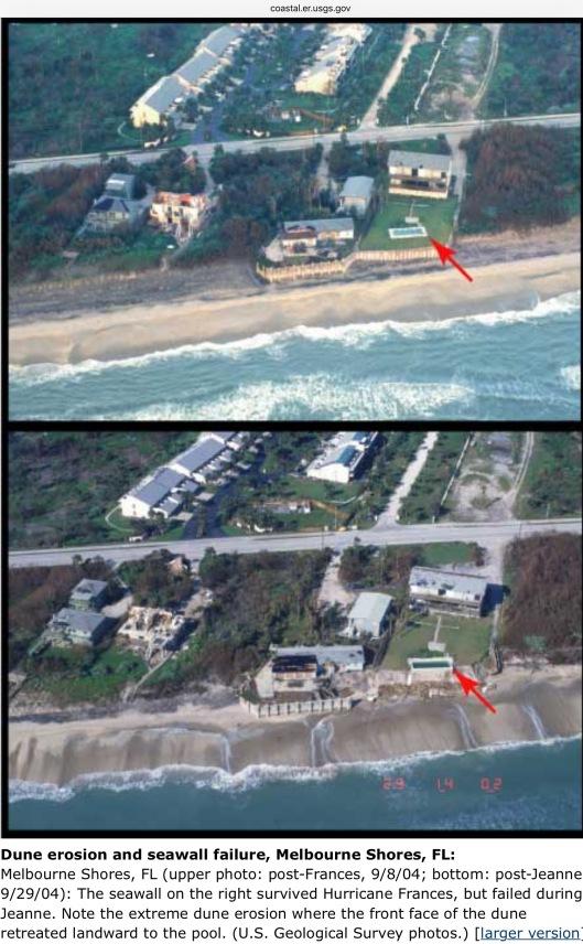 Dune Erosion Seawall Failure Hurricanes Frances and Jeanne Florida