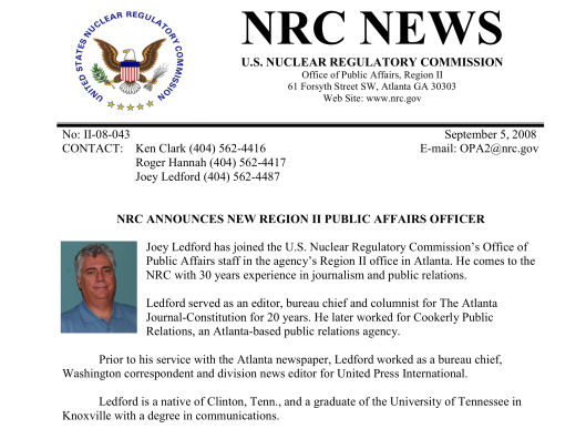 "Joey Ledford 2008 ""NRC ANNOUNCES NEW REGION II PUBLIC AFFAIRS OFFICER"""