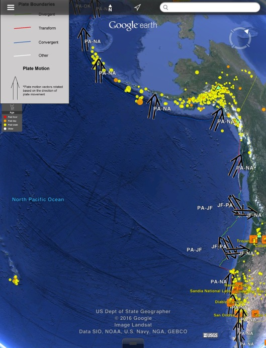 Plate Motion, US W. Coast Earthquakes one week to Oct. 2 2016