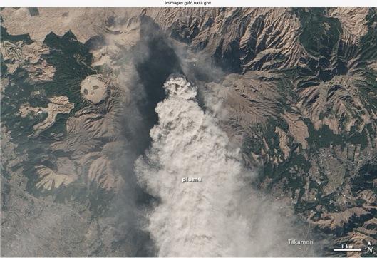 ERUPTION AT MOUNT ASO Credit: NASA Earth Observatory by Jesse Allen, using Landsat data from USGS.  Jan 13, 2015 Jan 15, 2015
