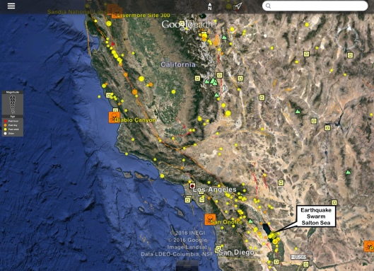Earthquakes 1 week to ca 1245 UTC Oct. 3 Salton Sea earthquake swarm, nuclear, plate movements  faults to 15000 yrs ago