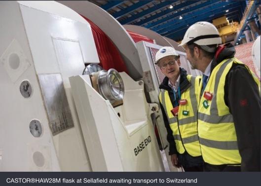 CASTOR®HAW28M flask at Sellafield awaiting transport to Switzerland