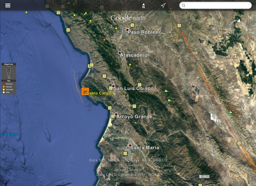Diablo Canyon quaternary faults less than 15000 yrs recent earthquakes Oct. 3 ca 1245 UTC