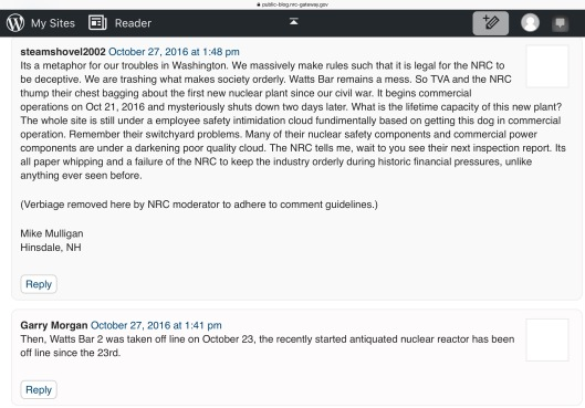 Under NRC's Watchful Eye — New Commercial Nuclear Power Plant Comes on Line Posted by Moderator on October 27, 2016 Joey Ledford Public Affairs Officer Region II comments