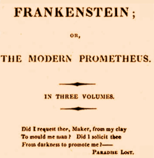 Frankestein cover with quote