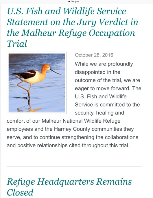 Fishery and Wildlife service Malheur Occupation trial comment