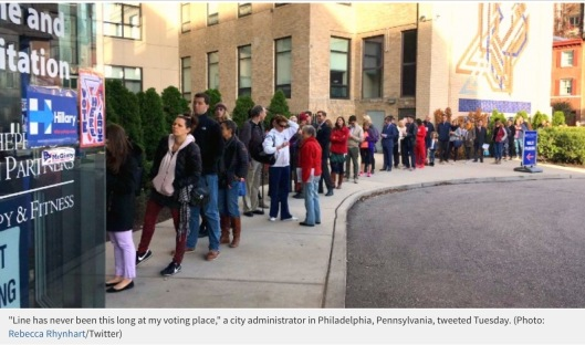 "Line has never been this long at my voting place,"" a city administrator in Philadelphia, Pennsylvania, tweeted Tuesday. (Photo: Rebecca Rhynhart/Twitter)"