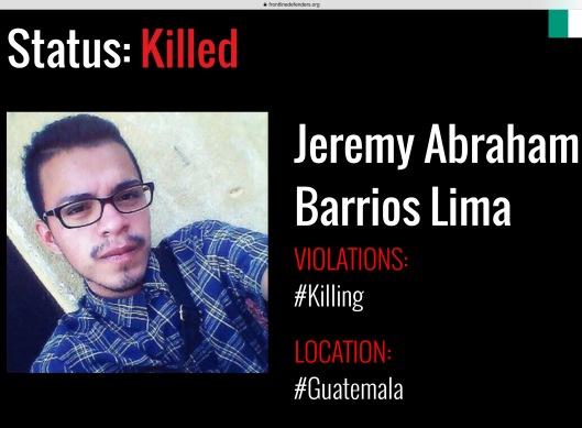 Jeremy Abraham Barrios Lima Murder Guatemala