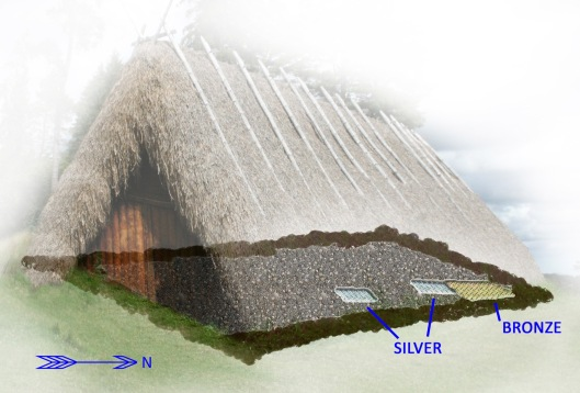 A representation of the Viking house where the three caches of the Spillings hoard were found, CC-SA-BY W.Carter and Gotogo via wikipedia