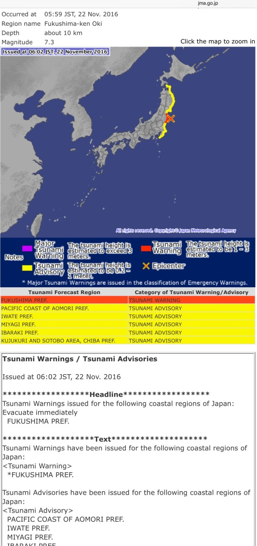 7.3 M offshore Fukushima Quake-Tsunami warning Japan Meteorological Agency